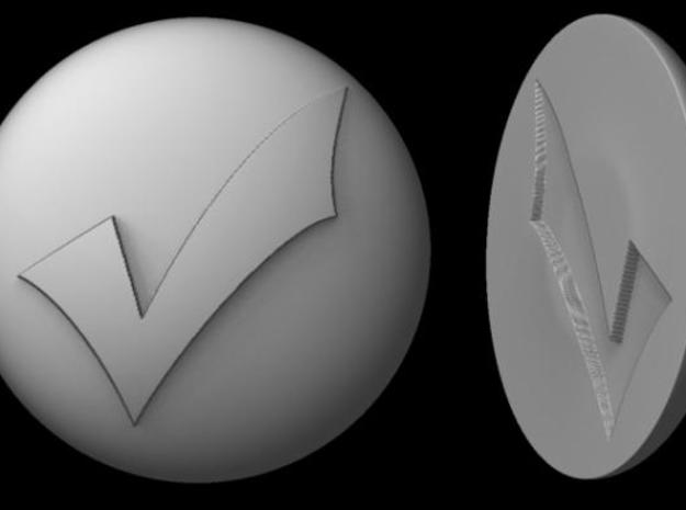 Paperweight - Checkmark in White Natural Versatile Plastic