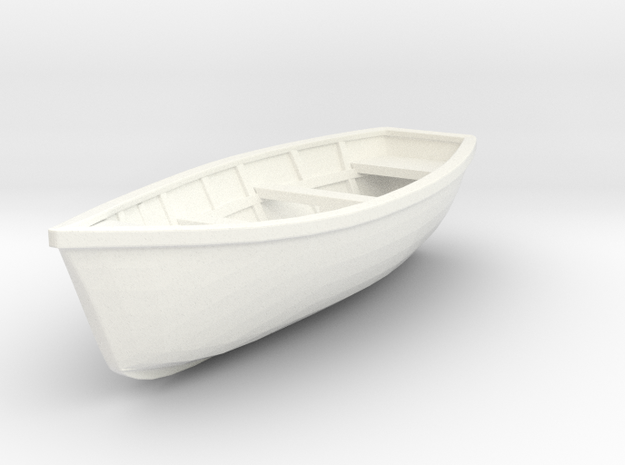 Wooden Boat  01. 1:20  Scale in White Processed Versatile Plastic