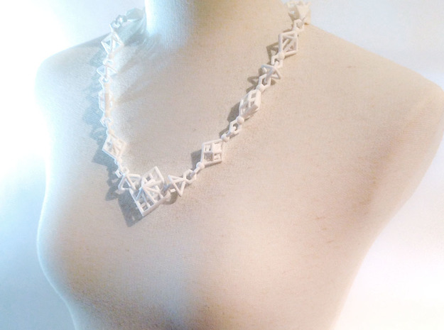 Necklace_octahedrons in White Natural Versatile Plastic