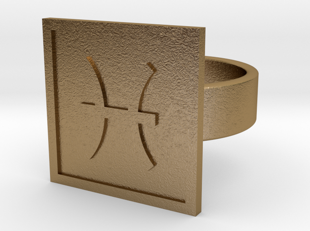 Pisces Ring in Polished Gold Steel: 10 / 61.5