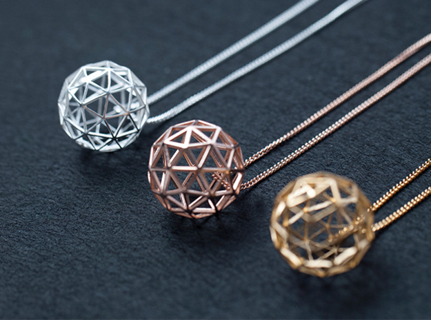 Geodesic Sphere Necklace in Polished Silver