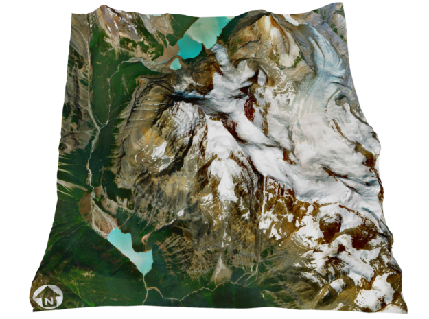 """Mount Robson Map: 8"""" in Full Color Sandstone"""
