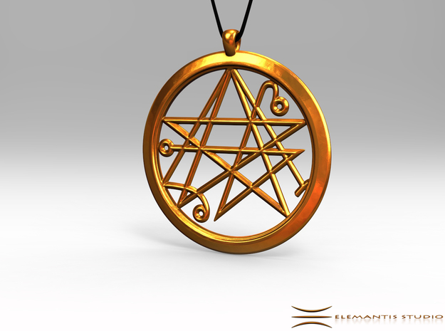 Sigil of the Gates Pendant 6.5cm in Natural Brass