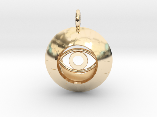 Vesica Eye Sacred Geometry Pendant in 14k Gold Plated Brass