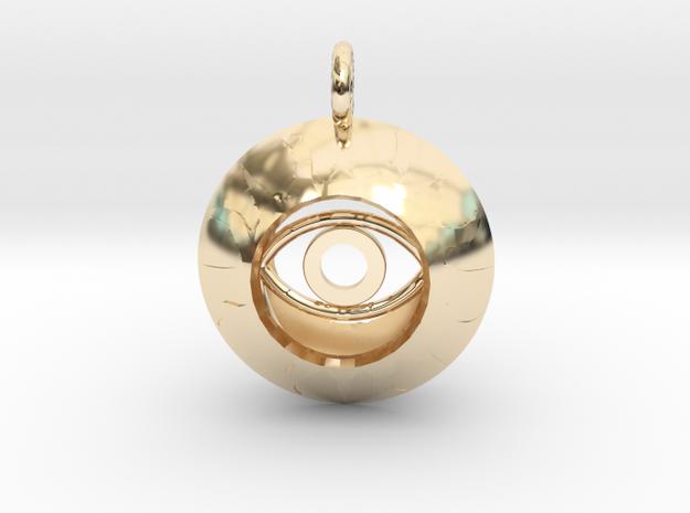Vesica Eye Sacred Geometry Pendant in 14k Gold Plated Brass