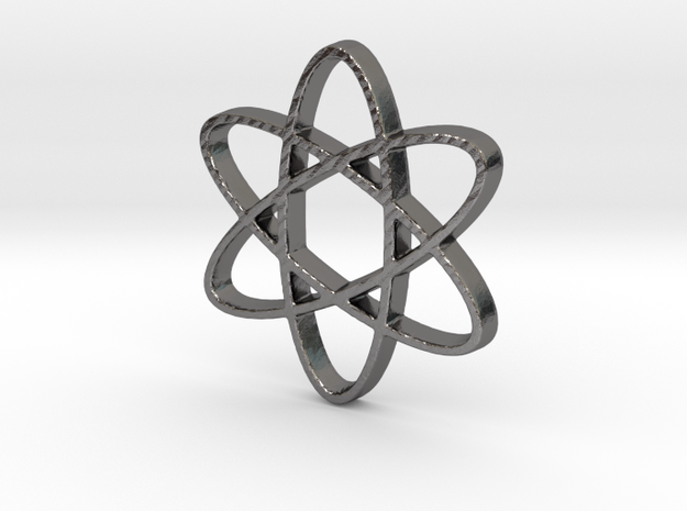 Science Atomic Whirl Pendant in Polished Nickel Steel