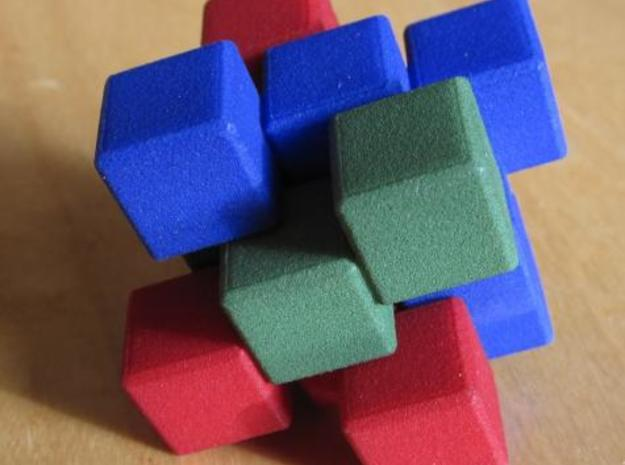 Three Piece Whatsit 3d printed Assembled puzzle.