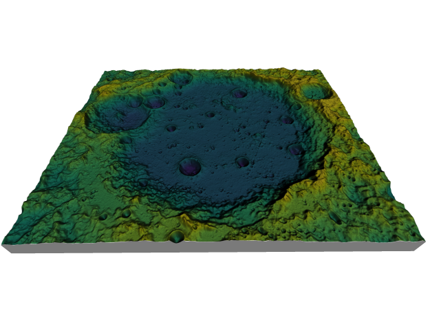 Moon Map: Large Crater, Viridis in Coated Full Color Sandstone