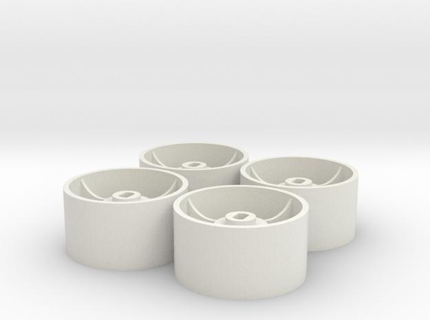 4 Mini-Z GLA rear Wheelset 12mm - offset(+2) - D22 in White Natural Versatile Plastic