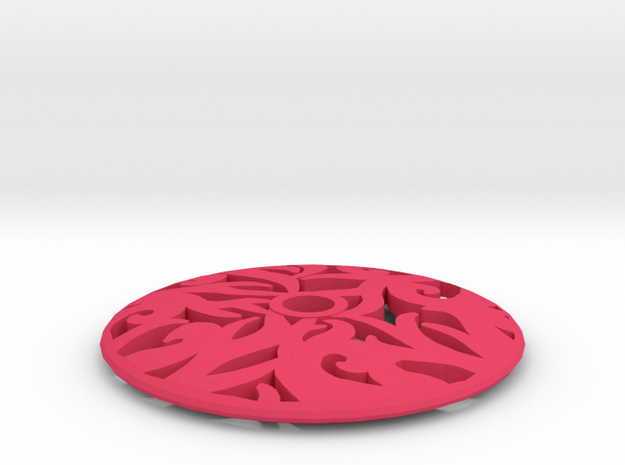 Drop Spindle Whorl--Curves in Pink Strong & Flexible Polished