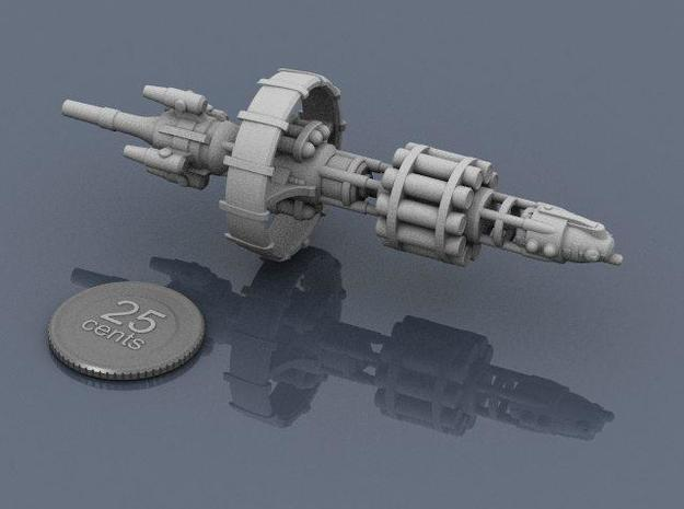 Belter Missile Cruiser 3d printed Render of the model, with a virtual quarter for scale.