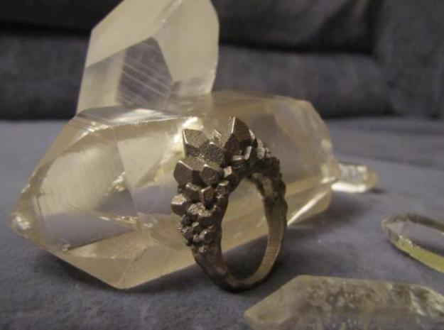 Crystal Ring size 7 in Polished Bronzed Silver Steel