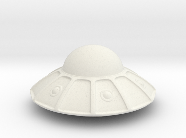flying saucer (3cm) in White Natural Versatile Plastic: Extra Small