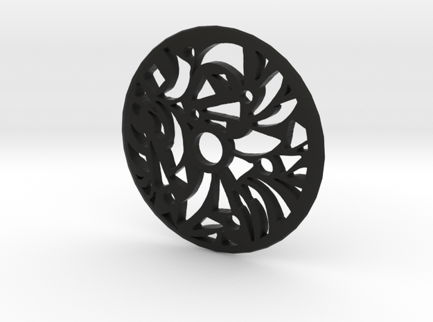 Drop Spindle Whorl--Geometric in Black Strong & Flexible