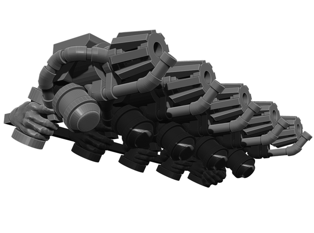 Flame Thrower Pistol Weapons Pack in Smooth Fine Detail Plastic