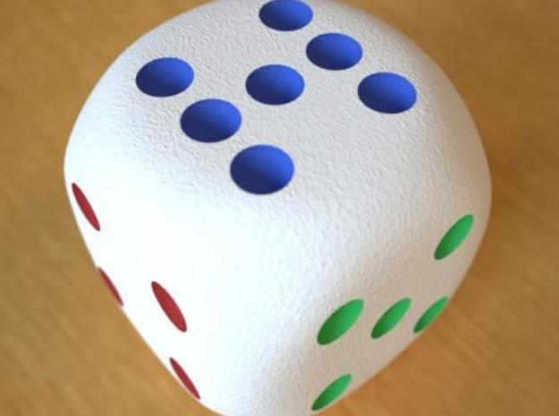 Lucky 7 Dice - hollow 3d printed Lucky 7 dice Full Color Sandstone