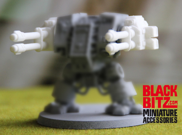 Dreadnought Autocannon arms R+L, 28 mm in White Strong & Flexible