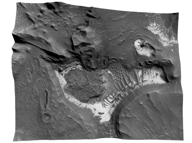 Mars Map: Light Outcrops in B&W in Coated Full Color Sandstone