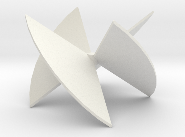 3D Turbine Rotor (Mirror) in White Strong & Flexible