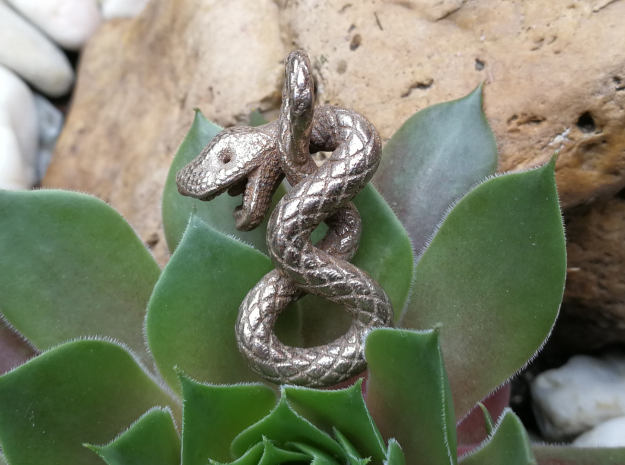 Snake pendant in Polished Bronzed Silver Steel