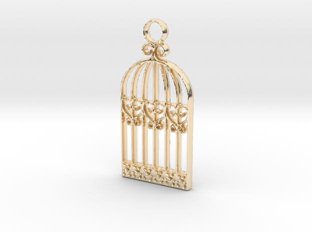 Vintage Birdcage Pendant Charm in 14k Gold Plated Brass