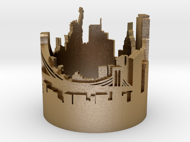 Ring NY New York Skyline in Polished Gold Steel: 2 / 41.5