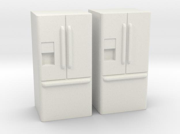 3-Door French Door Refrigerator 1-87 HO Scale in White Natural Versatile Plastic