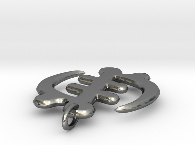 Gye Nyame -round Edges in Polished Silver
