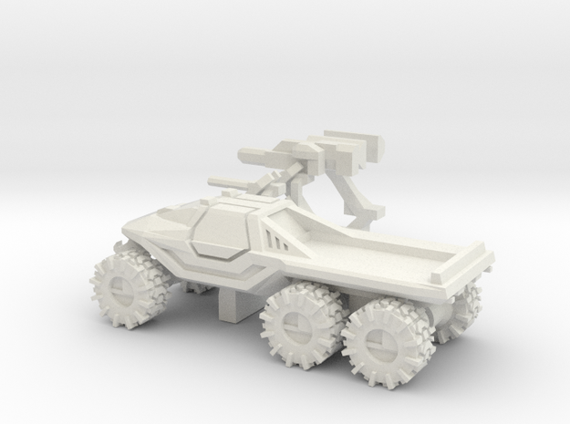 All-Terrain Vehicle 6x6 closed cab with weapons in White Natural Versatile Plastic