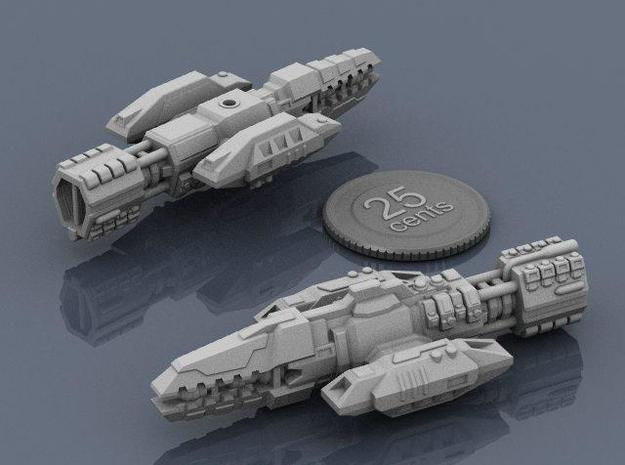 Colonial Warrior 3d printed Renders of the model with a virtual quarter for scale.
