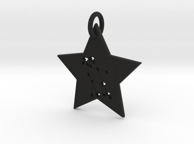 Gemini Constellation Pendant in Black Natural Versatile Plastic