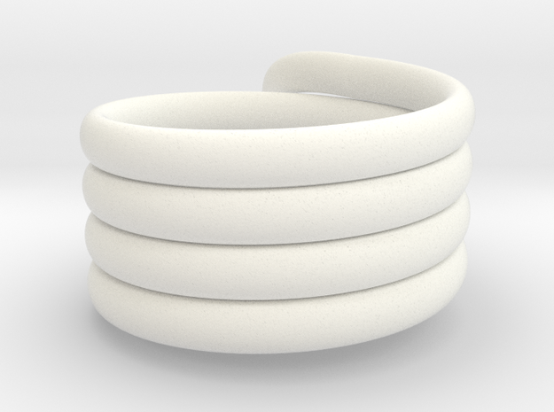Coiled Ring  Size 10 in White Strong & Flexible Polished