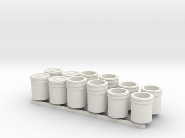 1:48 5 Gallon buckets Pack of Twelve.  in White Natural Versatile Plastic