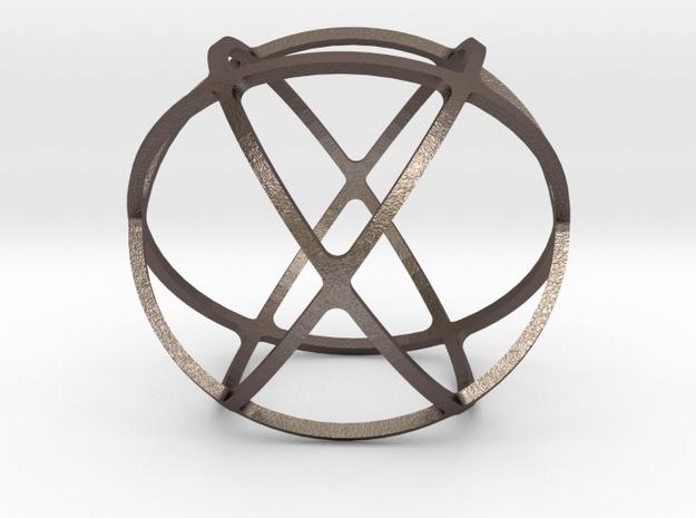 GENESA CRYSTAL in Polished Bronzed Silver Steel