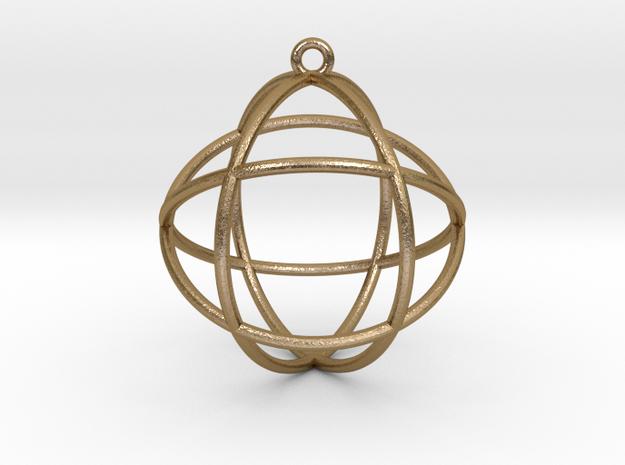 """Genesa Crystal V2 Pendant 1.5"""" in Polished Gold Steel"""