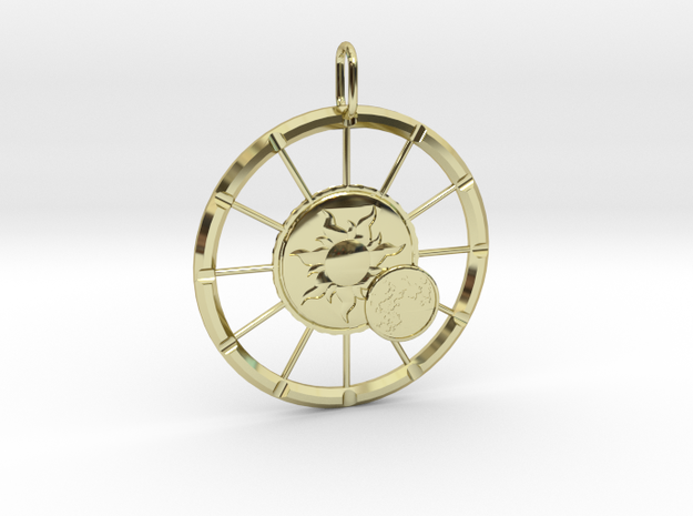 Eclipse of the Sun Pendant in 18k Gold Plated Brass