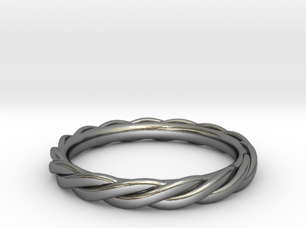 Single Twist Band in Polished Silver: 6 / 51.5