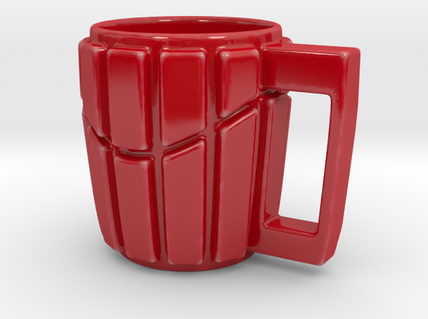 Striped Wave Mug in Gloss Red Porcelain