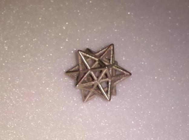 Small stellated dodecahedron in Polished Bronzed Silver Steel