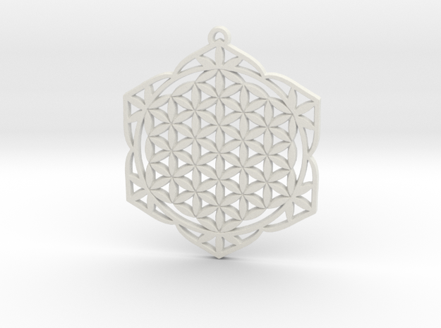 38x2mm Flower of Life Lotus in White Strong & Flexible