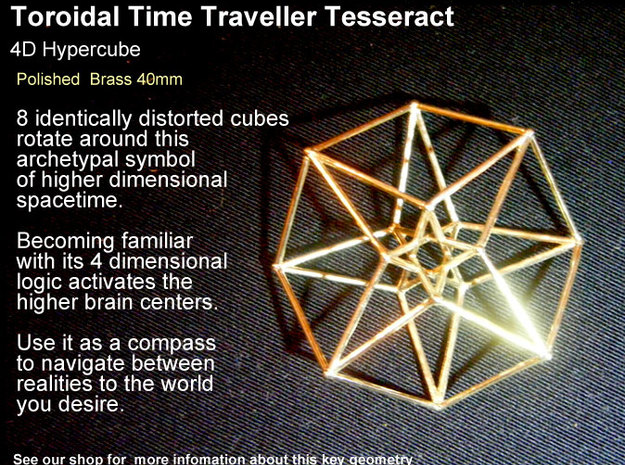 Sacred Geometry: Toroidal Hypercube 40mmx1mm 3d printed Polished Brass looks nearly as good as Gold Plated