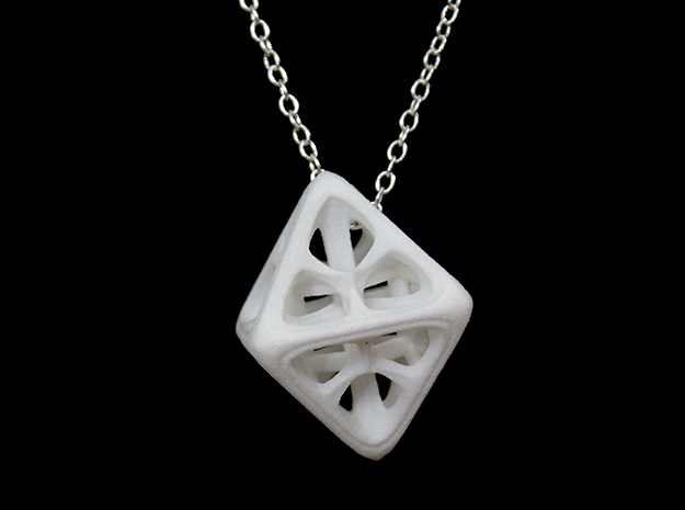 Octahedron Pendant in White Strong & Flexible Polished