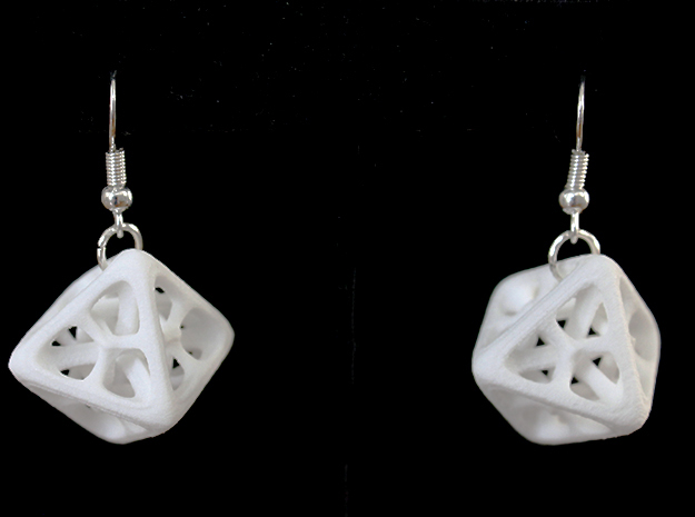 Octahedron Earrings in White Strong & Flexible Polished