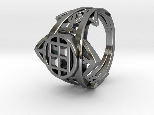 Enneper Curve Twin Ring in Fine Detail Polished Silver