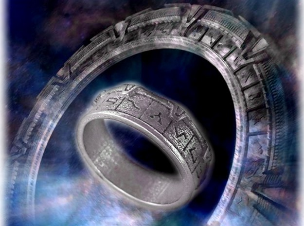 Stargate Ring in Polished Nickel Steel: 10 / 61.5