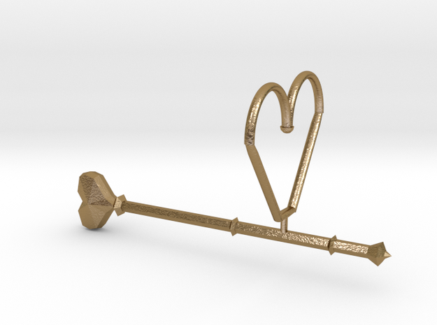Heart Wand Keychain/necklace Attachment in Polished Gold Steel
