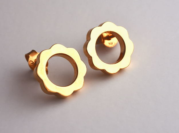 Flower Power - Stud Earrings in 14k Gold Plated Brass