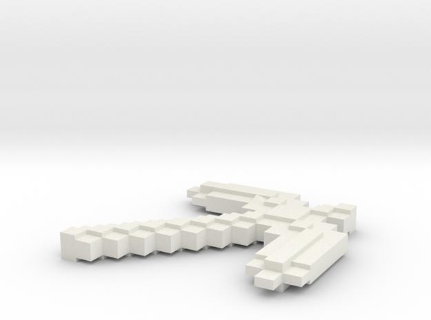Minecraft Pickaxe in White Natural Versatile Plastic: Small