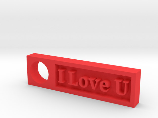 """I Love U"" Keychain Ornament in Red Strong & Flexible Polished"