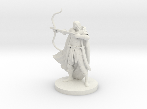 Elven Male Ranger in White Natural Versatile Plastic